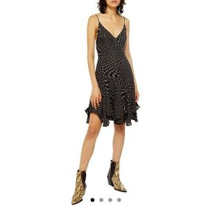 (NWT) TOPSHOP Godet checkerboard mini slip dress